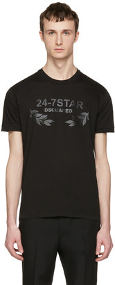 Dsquared2 Black '24-7 Star' Logo T-Shirt $195 thestylecure.com