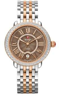 Michele Serein Diamond, Enamel,& Two-Tone Stainless Steel Bracelet Watch