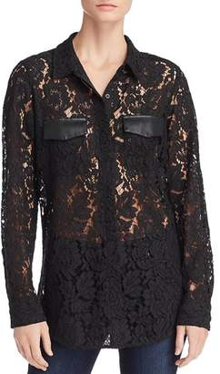 Calvin Klein Faux Leather-Trim Lace Blouse