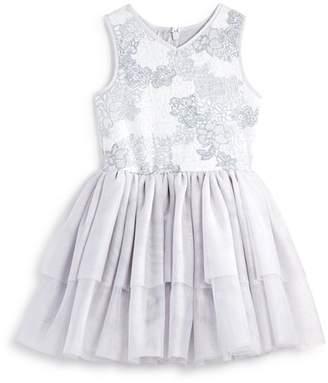 Pippa & Julie Girls' Floral Knit Tiered Tutu Dress - Little Kid