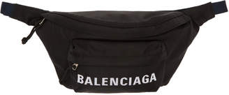 Balenciaga Black and Navy Wheel Belt Pouch