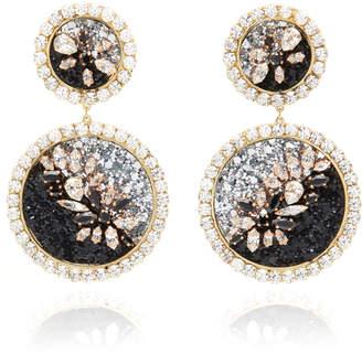 Shourouk Spheyra Glittered-Resin Crystal Clip Earrings