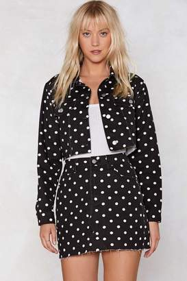 Nasty Gal Spot On Mind Polka Dot Denim Jacket