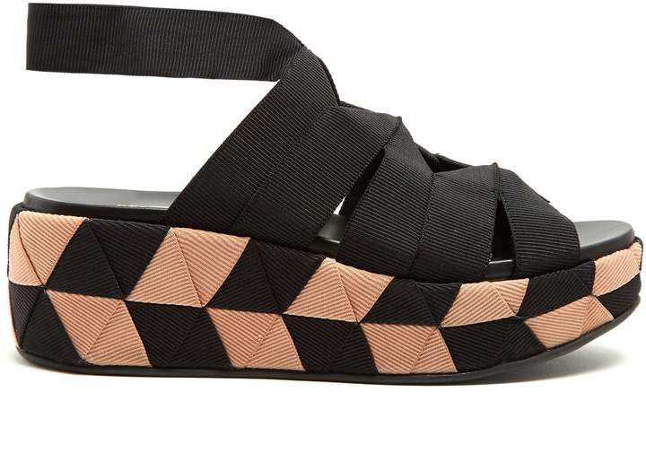 SALVATORE FERRAGAMO Elettra canvas flatform sandals