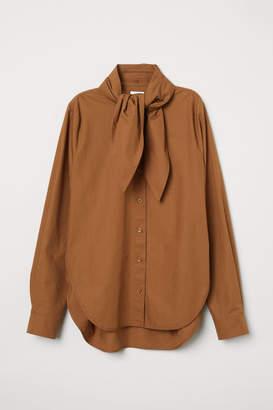 H&M Shirt with Tie Collar - Beige