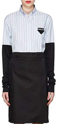 Prada Women's Knit-Sleeve Striped Poplin Shirt