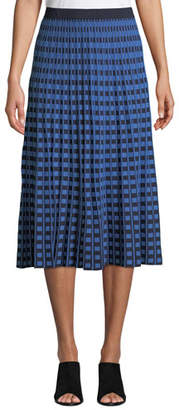 Derek Lam 10 Crosby Pleated Check Midi Skirt