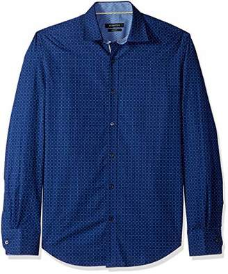 Bugatchi Men's Tapered Fit Long Sleeve Cotton Point Collar Sport Shirt