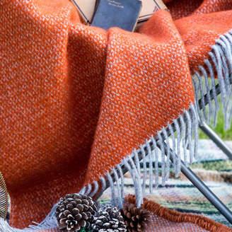 Marquis & Dawe Orange And Grey Woven Wool Throw