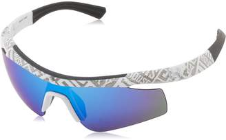 "Under Armour Dynamo ""Youth"" Shiny White ""Show Me"" SMS Pattern (Exterior) Frame, with Charcoal Gray Rubber and Gray-Blue Multiflection Lens"