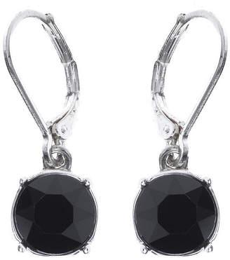 Gloria Vanderbilt Black Crystal Silver-Tone Drop Earrings
