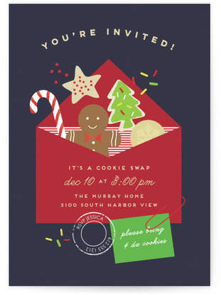 Cookie Mail Holiday Party Invitations