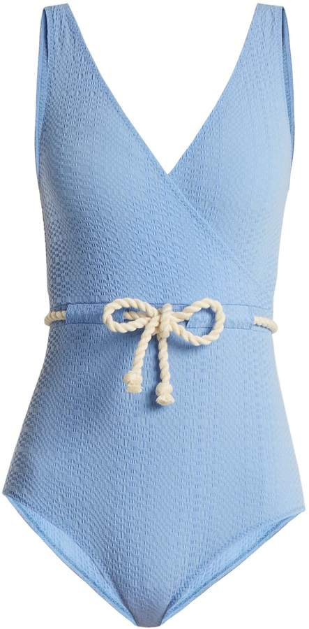 LISA MARIE FERNANDEZ Yasmin V-neck tie-waist seersucker swimsuit