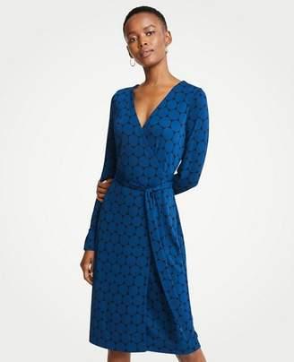Ann Taylor Petite Polka Dot Button Cuff Wrap Dress