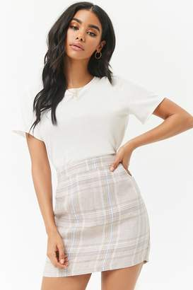 Forever 21 Plaid Linen Mini Skirt