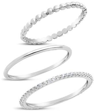 Sterling Forever Sterling Silver Dainty 3-Piece Stack Ring Set