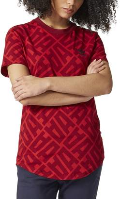 adidas Women's All Over Print Elongated Tee, Power Red/Collegiate Burgundy