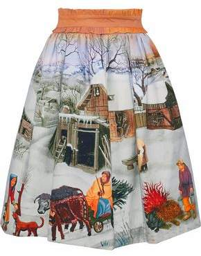 Stella Jean Belted Printed Cotton-Blend Twill Skirt