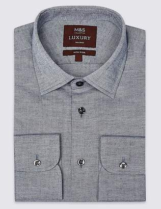 Marks and Spencer Cotton Rich Tailored Fit Oxford Shirt