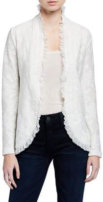 Fuzzi Tie-Front Ruffle Edge Lace Cardigan