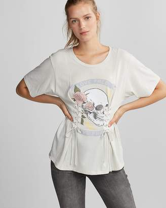 Express Skull Love Double Corset Boyfriend Tee
