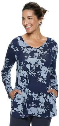 Dana Buchman Women's Everyday Casual Curved Hem V-Neck Top