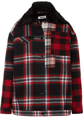 McQ Oversized Faux Fur-lined Tartan Cotton-twill Jacket - Red