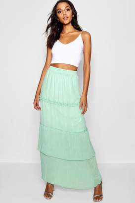 boohoo Pleated & Tiered Chiffon Maxi Skirt
