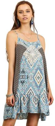Umgee USA A Line Print Tank Dress with Lace, Spagetti Strap Dress, Uptown Girl Co