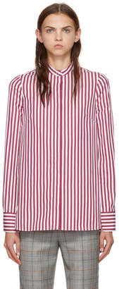 Alexander McQueen Burgundy and White Slash Cuff Striped Shirt