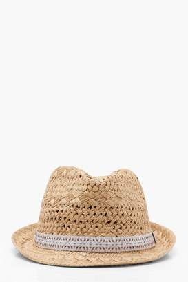 boohoo Kerry Aztec Trim Straw Trilby Hat
