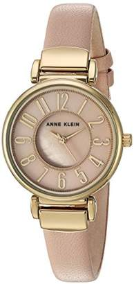 Anne Klein Women's AK/2156PMLP Easy To Read Gold-Tone and Light Pink Leather Strap Watch