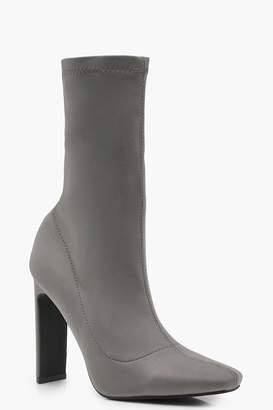 boohoo Slim Straight Heel Sock Boots