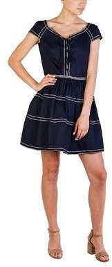 Prada Women's Cotton Nylon Blend Embroidered Dress Navy.