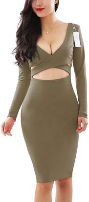 YMING Womens Sexy Tank Sling Cut-Out Bandage Bodycon Clubwear Midi Dress XS