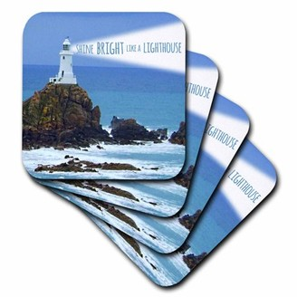 3dRose Shine bright like a lighthouse - inspiring motivational motivating nautical word saying light house, Soft Coasters, set of 4