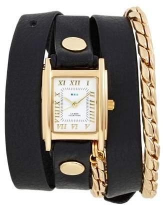 La Mer Leather & Chain Wrap Watch, 19mm
