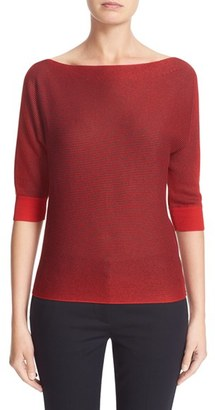 Women's Armani Jeans Metallic Knit Sweater $370 thestylecure.com