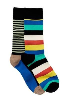 Happy Socks Non Terry Crew Socks - Pack of 2