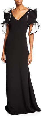 Badgley Mischka V-Neck Origami-Sleeve Two-Tone Gown