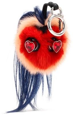 FendiFendi Bag Bugs Crystal-embellished Leather And Mink Fur Charm