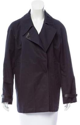Hermes Leather Trimmed Linen-Blend Jacket