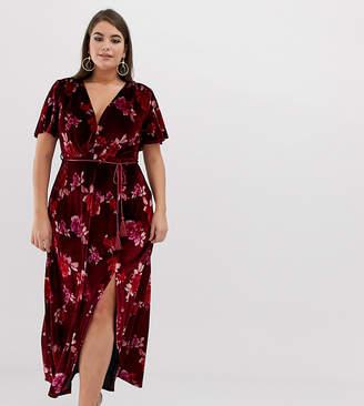 Asos DESIGN Curve velvet floral maxi dress with tassel belt