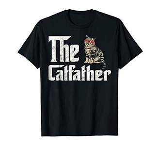 The Catfather Vintage Cat Sunglasses Lover Tshirt for Father