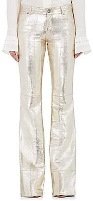 Chloé WOMEN'S TEXTURED LEATHER WIDE-LEG PANTS - SILVER SIZE 40 FR
