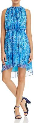 Elie Tahari Abertha Printed Silk High/Low Dress
