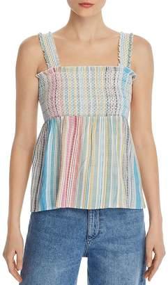 Aqua Smocked Rainbow-Stripe Top - 100% Exclusive