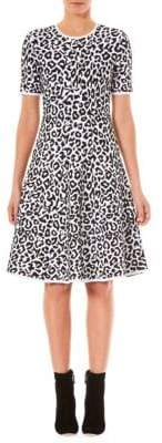 Carolina Herrera Leopard Print Knit A-Line Dress