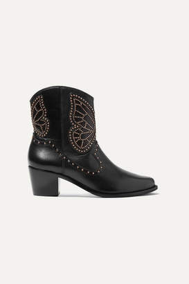 Sophia Webster Shelby Studded Leather Ankle Boots - Black