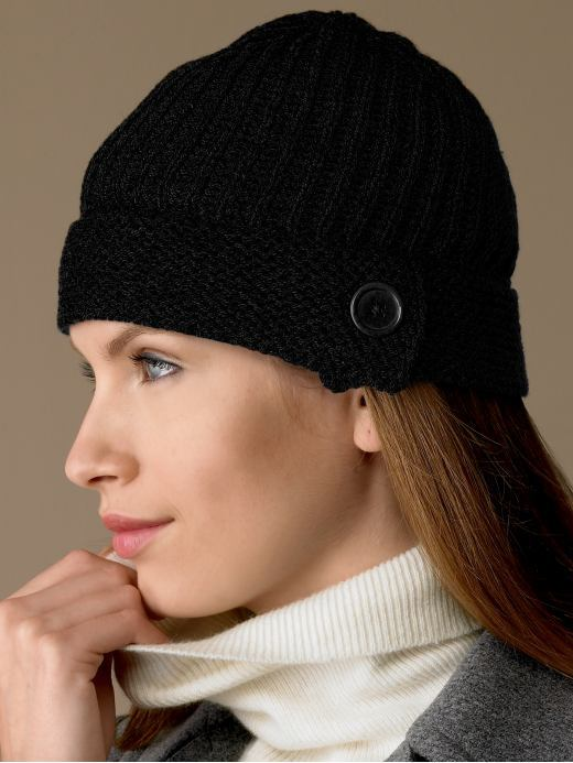 Cashmere button-tab beanie - Black